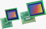 OmniVision's two megapixel OV2665 system-on-chip (left) and five megapixel OV5650 RAW image sensor (right) for camera phones. Photo provided by OmniVision Technologies Inc.