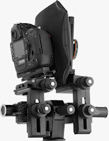 Sinar p2-slr with Nikon DSLR mounted, in landscape orientation. Photo provided by Sinar Photography AG.