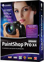 Corel's Paintshop Pro X4 Ultimate product packaging. Rendering provided by Corel Corp.