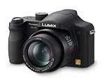 Panasonic's Lumix DMC-FZ7 digital camera. Courtesy of Panasonic, with modifications by Imaging Resource.