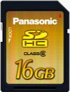 Panasonic's 16GB SDHC card. Courtesy of Panasonic, with modifications by Michael R. Tomkins.
