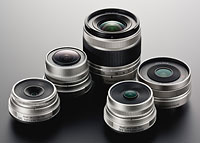 Pentax's full selection of Q-mount lenses consists of five models at launch. Photo provided by Pentax Imaging Co.