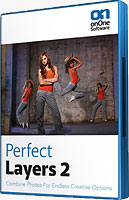 Perfect Layers 2's product packaging. Click here to visit the onOne Software website!