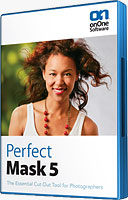 Perfect Mask 5's product packaging. Click here to visit the onOne Software website!