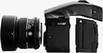 Phase One's 645DF medium format camera body shown with 80mm lens and camera back.