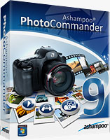 Photo Commander 9 product packaging. Rendering provided by Ashampoo GmbH & Co. KG.