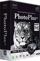 PhotoPlus X5's product packaging. Rendering provided by Serif Europe Ltd.