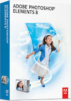 Adobe Photoshop Elements 8 packaging. Rendering provided by Adobe Systems Inc.