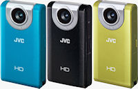 JVC's PICSIO GC-FM2 pocket camera, front view. Photo provided by JVC U.S.A.