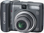 Canon's PowerShot A590 IS digital camera. Courtesy of Canon, with modifications by Michael R. Tomkins.