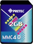 Pretec's 2GB MMC 4.0 MultiMediaCard.. Courtesy of Pretec, with modifications by Michael R. Tomkins.
