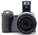 Canon's PowerShot Pro90 IS digital camera, front view.  Copyright (c) 2001, The Imaging Resource, all rights reserved.