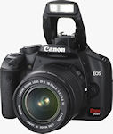 Canon's EOS Rebel XSi digital SLR. Courtesy of Canon, with modifications by Michael R. Tomkins.