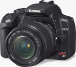 Canon's EOS Digital Rebel XT, black version. Courtesy of Canon, with modifications by Michael R. Tomkins.