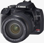 Canon's EOS Digital Rebel XTi digital SLR. Courtesy of Canon, with modifications by Michael R. Tomkins.
