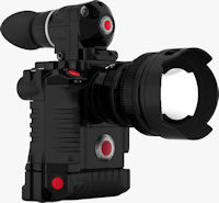 RED Scarlet FF35 24MP DSMC, set up for high res still and motion capture, configured with RED Electronic 15-25/2.8 lens, RED CF Module, REDhandle and Bottom Grip, RED BombEVF and REDmote Control (3/4 front view). Photo and caption provided by RED Digital Cinema Camera Co.