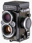 Rollei's RolleiFlex 2.8F medium-format twin-lens reflex camera. Courtesy of Rollei, with modifications by Michael R. Tomkins.