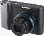 Samsung's NV11 digital camera. Courtesy of Samsung, with modifications by Michael R. Tomkins.