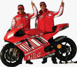 Ducati Corse's MotoGP bike with SanDisk sponsorship. Courtesy of SanDisk, with modifications by Michael R. Tomkins.