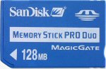 SanDisk's 128MB Memory Stick PRO Duo card. Courtesy of SanDisk, with modifications by Michael R. Tomkins.