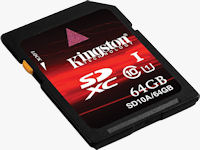 Kingston's 64GB Class 10 SDXC card. Photo provided by Kingston Digital Inc.