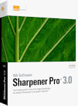 Nik Software's Sharpener Pro 3.0 packaging. Courtesy of Nik Software, with modifications by Michael R. Tomkins.
