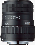 Sigma's 55-200mm F4�5.6 DC lens. Courtesy of Sigma, with modifications by Michael R. Tomkins.