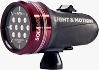 Front quarter view of the Sola 600 compact imaging light. Photo provided by Light & Motion.