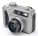 Sony's DSC-S75 digital camera, front left quarter view. Copyright (c) 2001, The Imaging Resource.  All rights reserved.