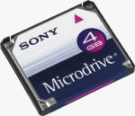 Sony's 4GB Microdrive. Courtesy of Sony, with modifications by Michael R. Tomkins.