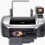 Epson's Stylus Photo R300M photo printer. Courtesy of Epson, with modifications by Michael R. Tomkins.