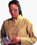 Tomb Raider's Lara Croft, played by Angelina Jolie, holds the Panasonic e-wear SV-AV30. Courtesy of Panasonic, with modifications by Michael R. Tomkins.
