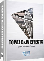 Topaz B&W Effects product packaging. Rendering provided by Topaz Labs LLC.