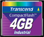 Transcend's 4GB Industrial CompactFlash card. Courtesy of Transcend, with modifications by Michael R. Tomkins.