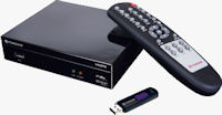 Transcend's TS-DMP10 HD media player with remote control and USB flash drive. Photo provided by Transcend Information Inc.