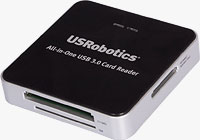 The USRobotics USR8420 All-in-One USB 3.0 Card Reader / Writer. Photo provided by USRobotics Corp.