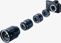 The Nikon V1 compact system camera shown with all four lenses. Photo provided by Nikon Inc.