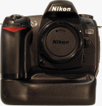 Nikon's D70 digital camera with third-party VG-D70 battery grip. Courtesy of Harbortronics, with modifications by Michael R. Tomkins.