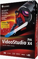 Corel's VideoStudio Pro X4 product packaging. Rendering provided by Corel Corp.