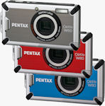 Pentax's Optio W80 digital camera in silver, red and blue versions. Photo provided by Pentax Imaging Co.