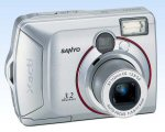 Sanyo's Xacti DSC-S3 digital camera. Courtesy of Sanyo, with modifications by Michael R. Tomkins. Click for a bigger picture!