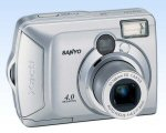 Sanyo's Xacti DSC-S4 digital camera. Courtesy of Sanyo, with modifications by Michael R. Tomkins. Click for a bigger picture!