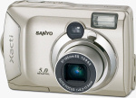 Sanyo's Xacti DSC-S5 digital camera. Courtesy of Sanyo, with modifications by Michael R. Tomkins.