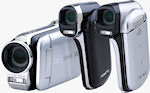 Left to right: Sanyo's VPC-GH2, VPC-CG102, and VPC-CG20 digital camcorders. Photo provided by Sanyo North America Corp.