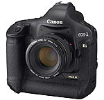 Canon's EOS-1Ds Mark III digital SLR. Courtesy of Canon, with modifications by Michael R. Tomkins. Click for a bigger picture!