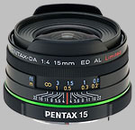 Pentax 15mm f/4.0 ED AL Limited SMC DA lens.