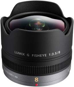 Panasonic's Lumix G Fisheye 8mm f/3.5 lens. Photo provided by Panasonic Consumer Electronics Co. Click for a bigger picture!