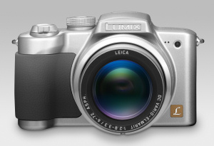 Panasonic's Lumix DMC-FZ5 digital camera. Courtesy of Panasonic, with modifications by Michael R. Tomkins. Click for a bigger picture!