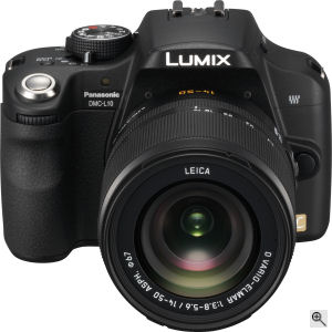 Panasonic's Lumix DMC-L10 digital SLR. Courtesy of Panasonic, with modifications by Michael R. Tomkins. Click for a bigger picture!