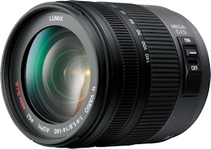 Panasonic's Lumix G Vario HD 14-140mm F4.0-5.8 Asph. / Mega O.I.S. lens. Photo provided by Panasonic Consumer Electronics Co. Click for a bigger picture!